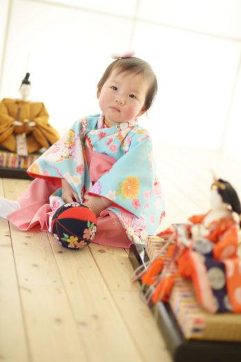 宝塚市 ひな祭り 女の子 水色の着物