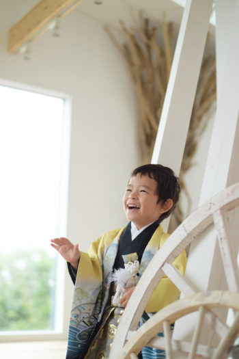 宝塚市 七五三 3歳 黄色の袴
