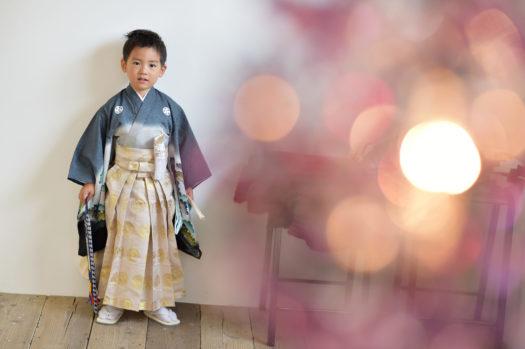 七五三 5歳男の子 グレーの着物