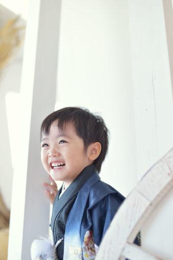 宝塚市 七五三 3歳 青の着物