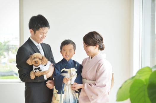 七五三 ペット 犬 家族写真