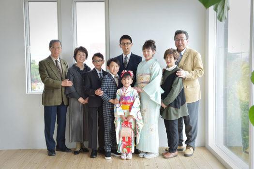 宝塚市 七五三 家族写真 7歳 祖父母