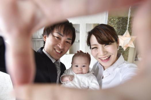 お宮参り 家族写真 楽しい家族