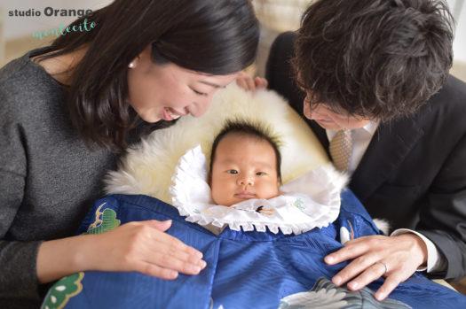 お宮参り 中山寺 青の初着 家族写真 自然なカット