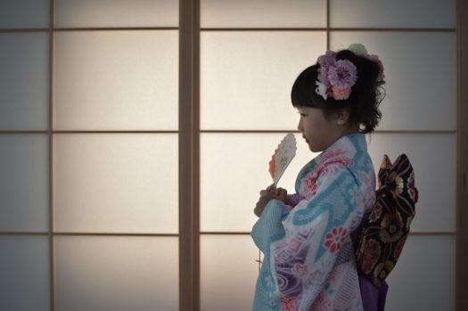 宝塚市 七五三 7歳 水色の着物