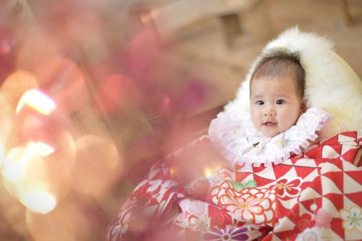 お宮参り 宝塚市 売布 女の子 赤の着物