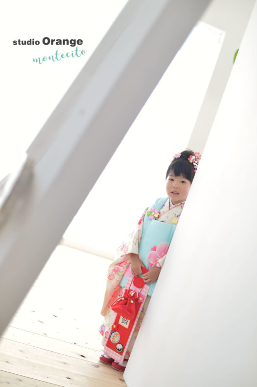 宝塚 フォトスタジオ 七五三 3歳女の子 水色の着物