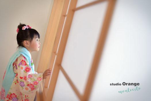 伊丹 フォトスタジオ 3歳女の子 水色の着物