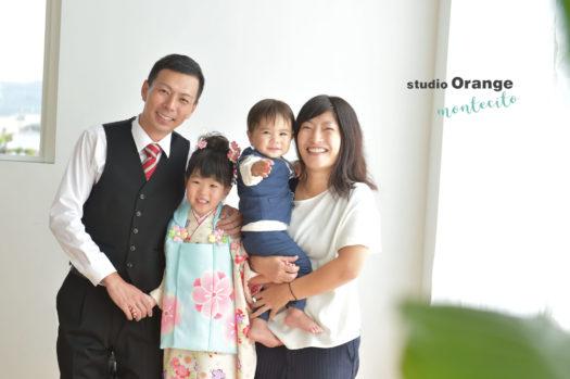 伊丹 七五三 家族写真 水色の着物