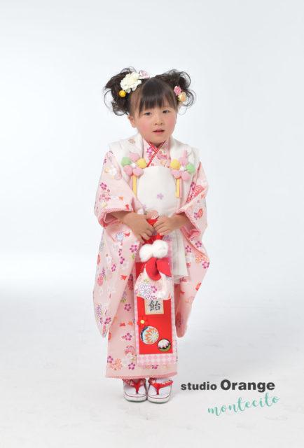 宝塚市 七五三 三歳 ピンクの着物 型もの