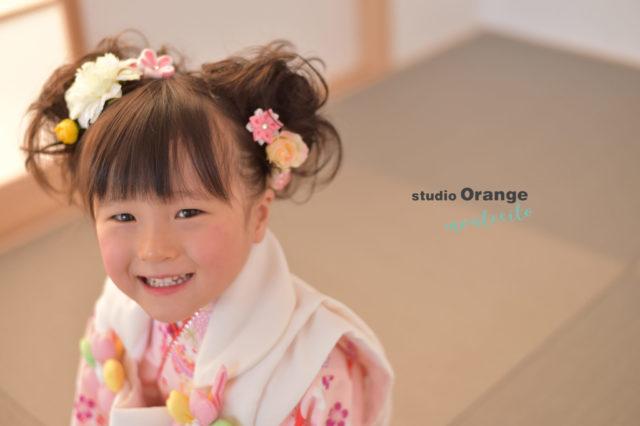 宝塚市 七五三 三歳 ピンクの着物