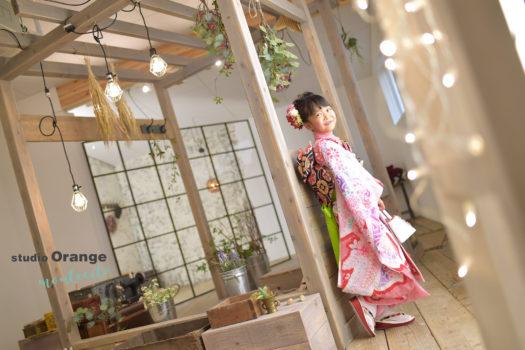 池田市 七五三 7歳女の子 ピンクのしぼりの着物