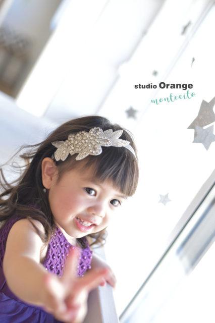 宝塚市 七五三後撮り 3歳 紫のドレス