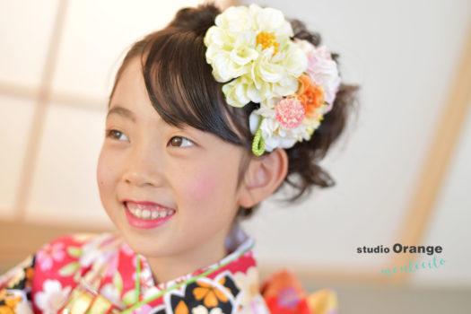 宝塚市 七五三 7歳 赤の着物 自然な笑顔