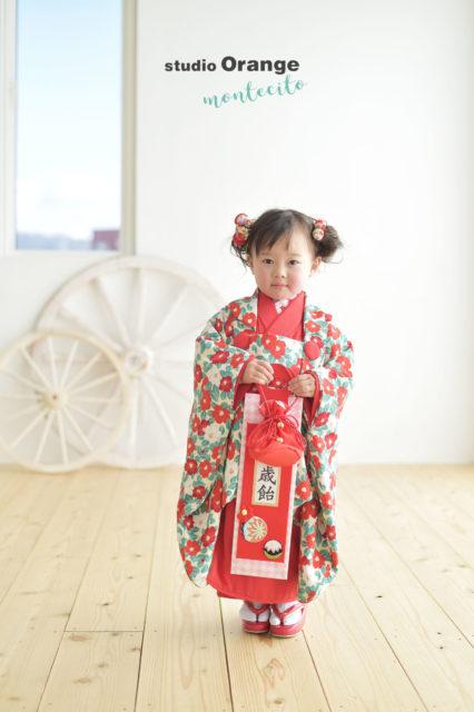 宝塚市 七五三後撮り 3歳 モダン着物
