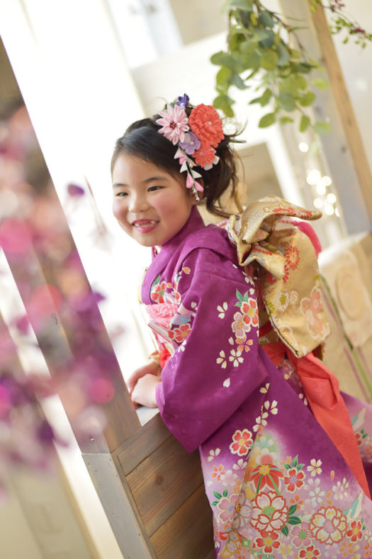 宝塚市 七五三 7歳 紫の着物