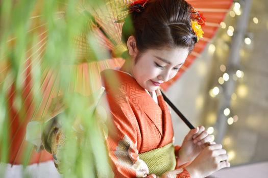 宝塚市 成人式 前撮り オレンジの振袖