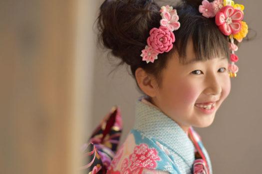宝塚市 七五三後撮り 7歳 水色の着物