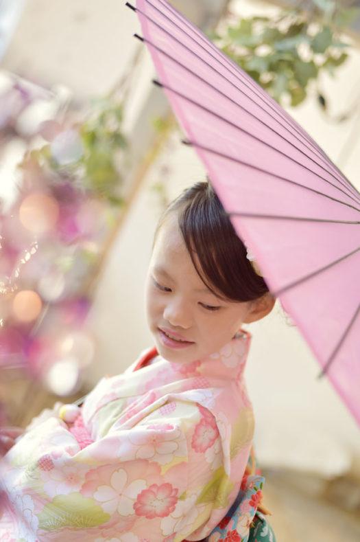 宝塚市 七五三後撮り 7歳 ピンクの着物