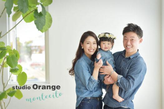 川西市 バースデーフォト 1歳 女の子 家族写真