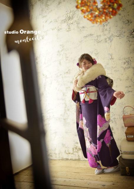 川西市 成人式前撮り後撮り 紫の振袖