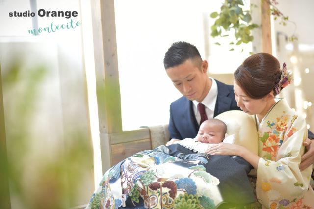 豊中市 お宮参り 黒の初着 家族写真