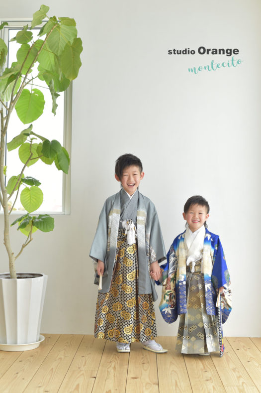 宝塚市 七五三 5歳 7歳 青の着物
