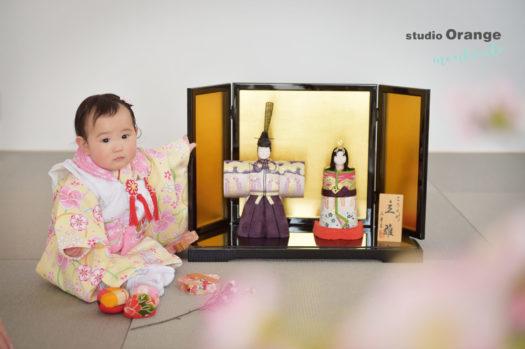 宝塚市 桃の節句 1歳 女の子 黄色の被布
