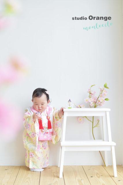伊丹市 桃の節句 1歳 女の子 黄色の被布