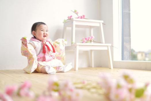宝塚市 桃の節句 女の子 黄色の着物