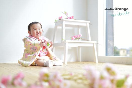 川西市 桃の節句 1歳 女の子 黄色の被布