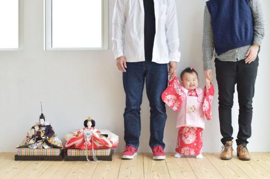 宝塚市 桃の節句 雛祭り 家族写真 赤の被布