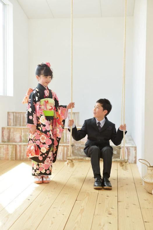 宝塚市 七五三 7歳 兄弟写真 黒の着物