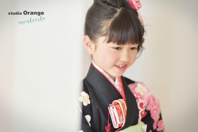 川西市 七五三 7歳女の子 黒の着物
