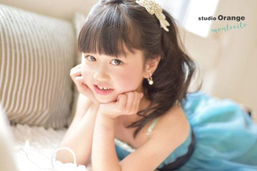 川西市 七五三 7歳女の子 青いドレス