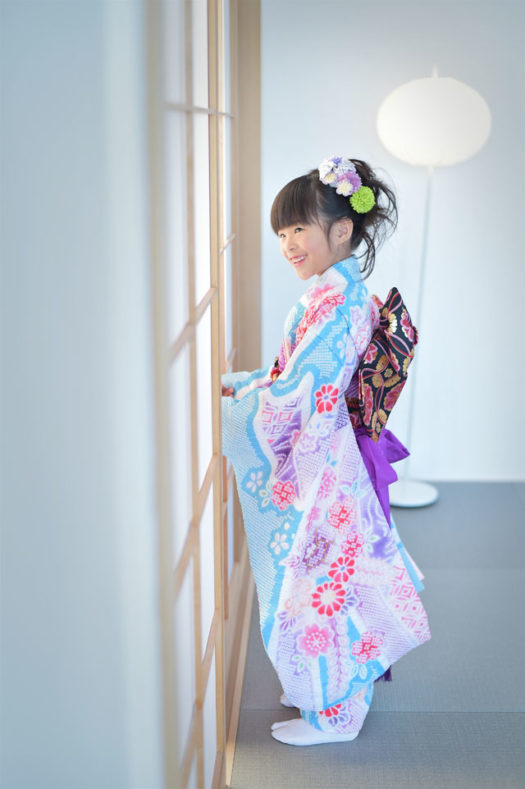 宝塚市 七五三 7歳女の子 水色の着物