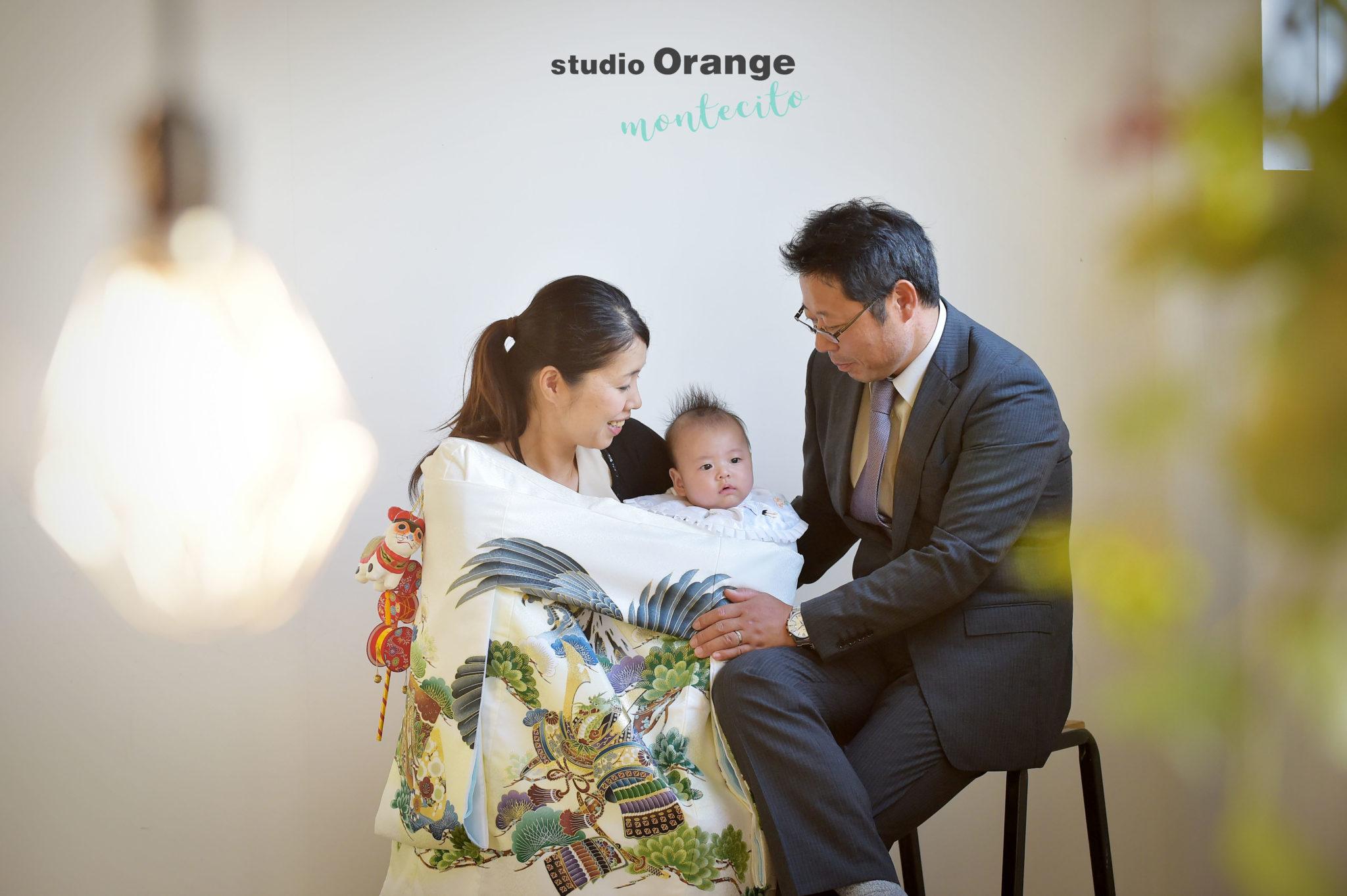 宝塚市 お宮参り 白の初着 男の子 家族写真