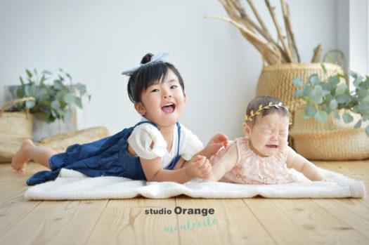 宝塚市 ハーフバースデー お誕生日撮影 姉妹写真