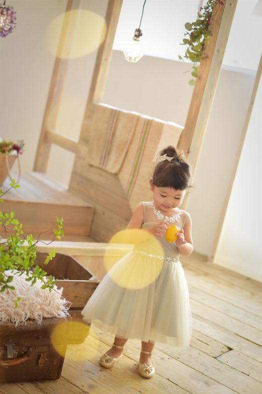 宝塚 七五三 3歳 グレーのドレス