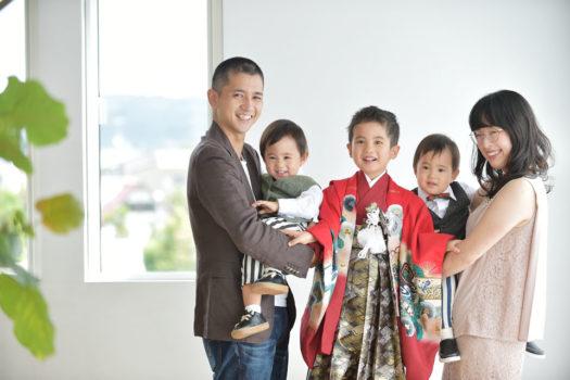 宝塚 七五三 5歳 男の子 赤の着物