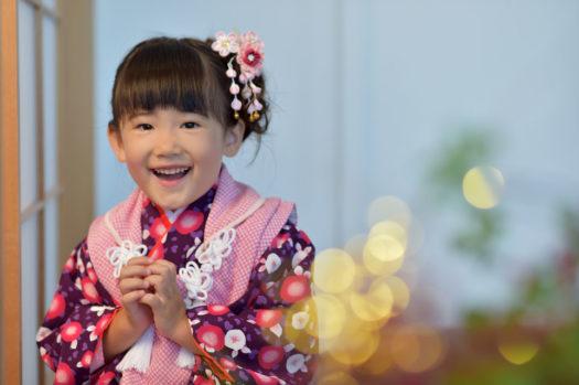 川西 七五三 3歳女の子 紫の被布