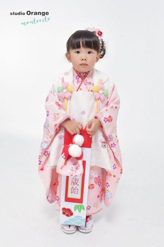 尼崎 中山寺 七五三 3歳 ピンクの被布