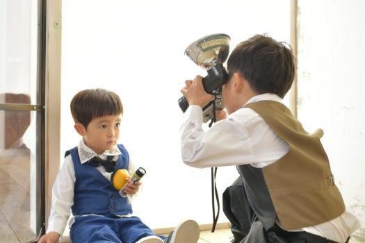 伊丹市 七五三 黒のスタジオ衣装 5歳男の子 3歳男の子