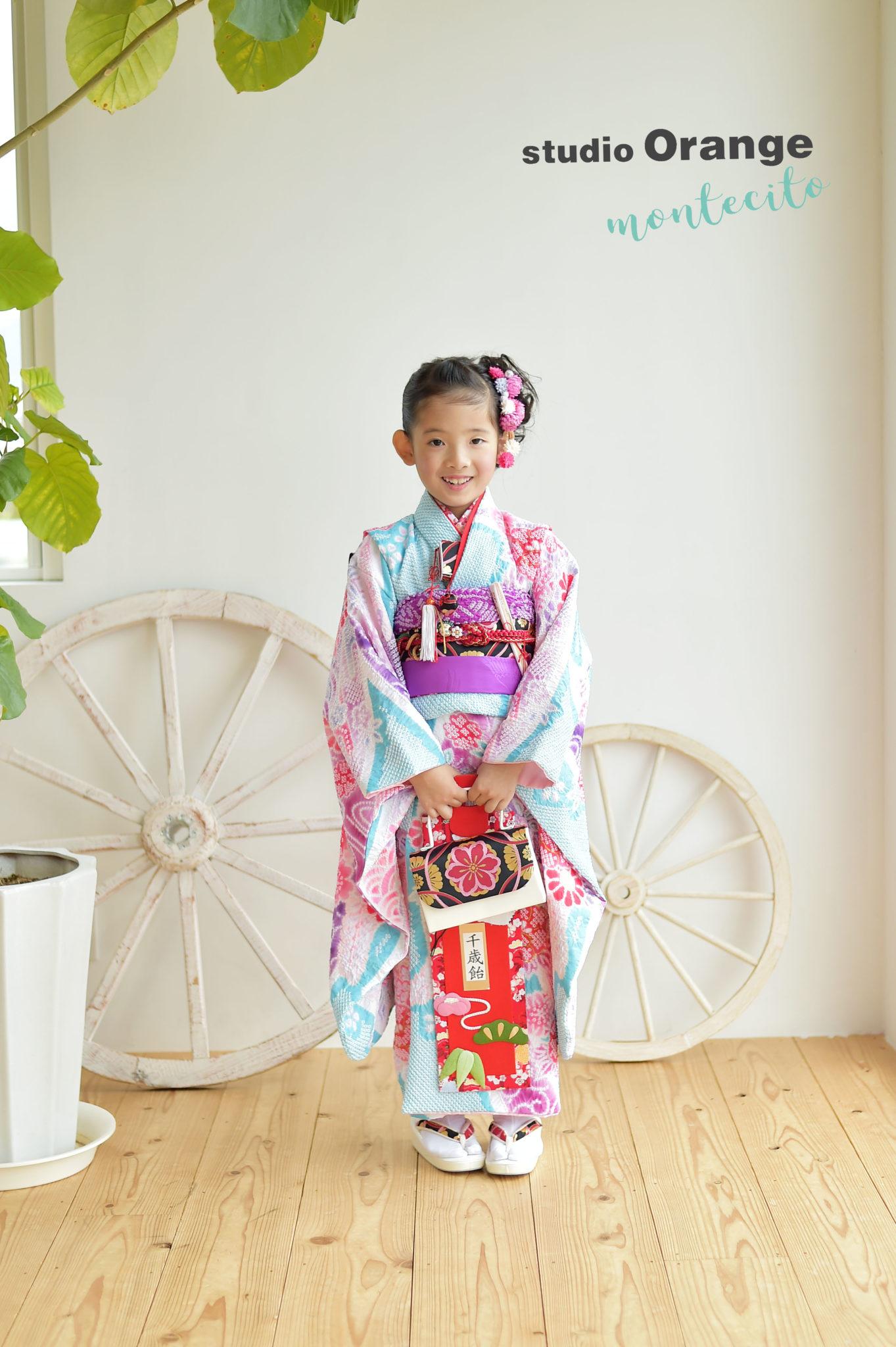 宝塚 七五三 7歳 水色の着物