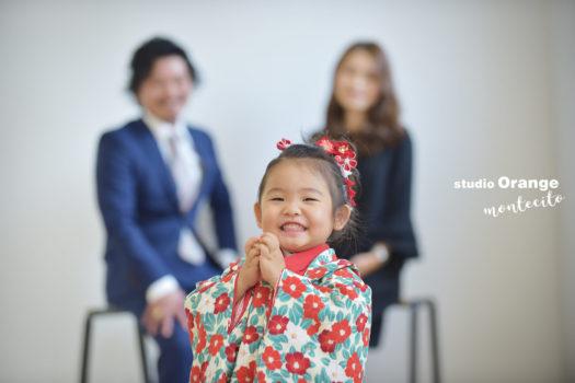 宝塚市 七五三 2歳 女の子 椿柄の着物