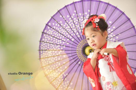 宝塚市 七五三 日本髪 3歳 赤の被布