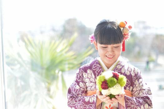 宝塚市 成人式前撮り 紫の振袖