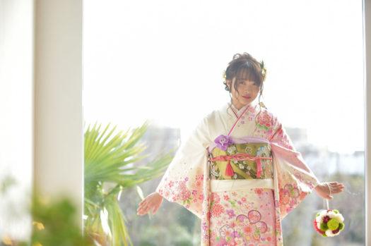 宝塚市 成人式前撮り ピンクの振袖