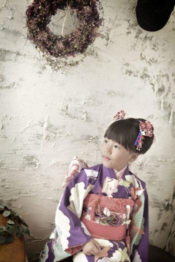 宝塚 七五三 7歳 女の子 紫の着物
