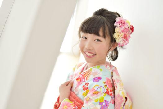 宝塚市 10歳記念 ハーフ成人式 ミントグリーンの着物